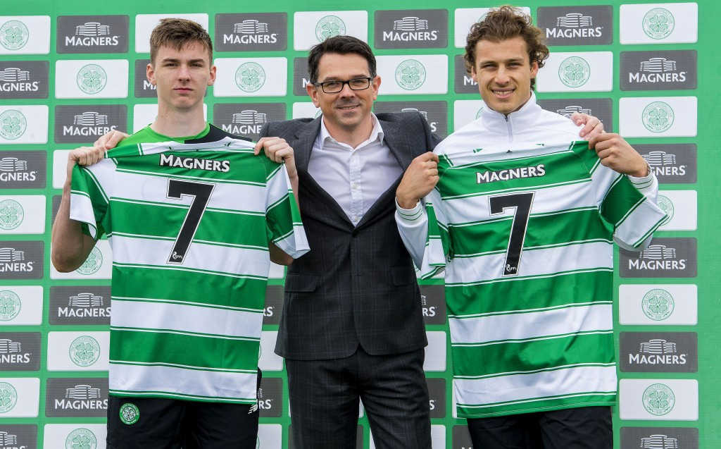 Celtic's Kieran Tierney (left) and Erik Sviatchenko join Magners' Paul C...
