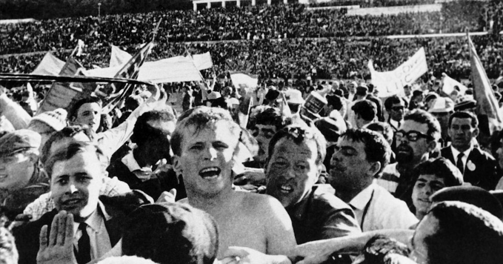 Billy McNeill is swamped by fans after Celtic's 1967 European Cup win