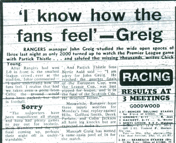 i know how the fans feel- Greig snip
